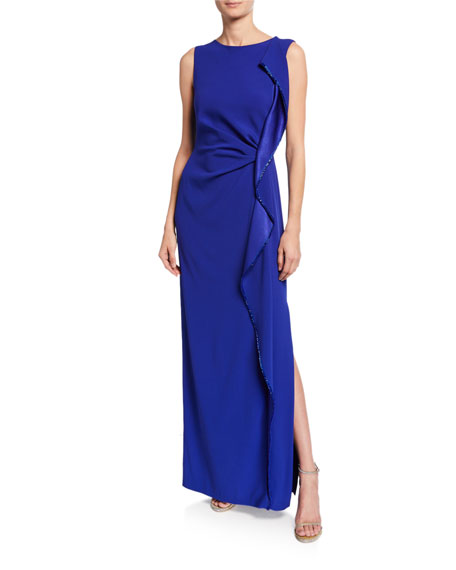 Escada Sleeveless Ruffle Front Gown