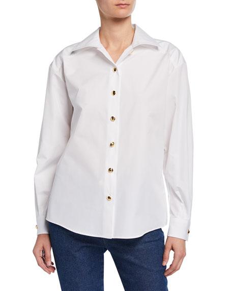 Escada Bow Neck Button-Front Cotton Blouse