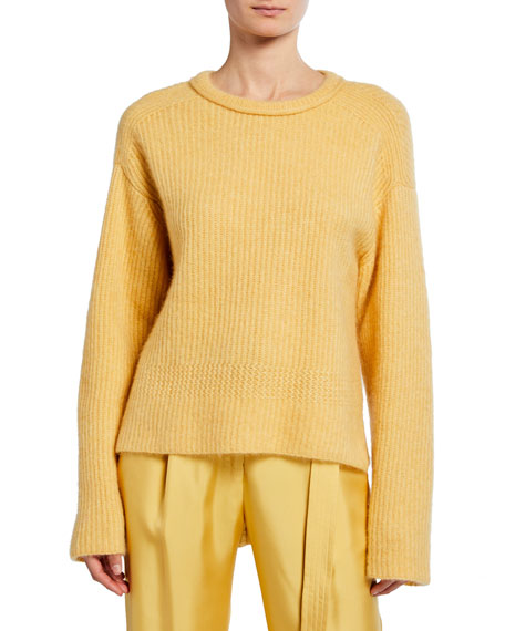Sally LaPointe Airy Cashmere/Silk Ribbed Sweater