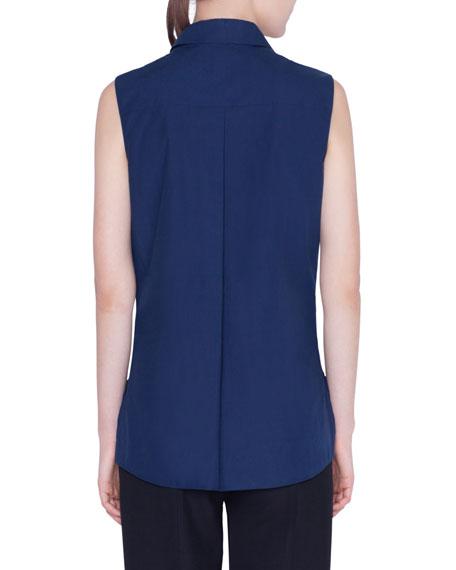 Akris punto Sleeveless Ruffle-Trimmed Button-Front Shirt