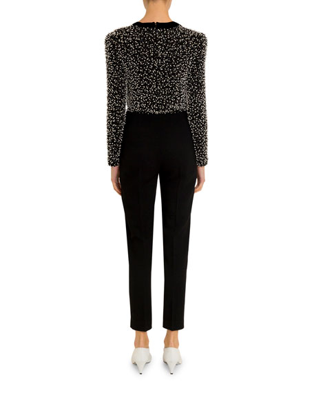 Givenchy Pearl-Embellished Deep-V Jumpsuit