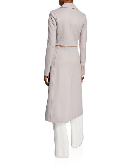 Brandon Maxwell Convertible Zip-Waist Wool Coat