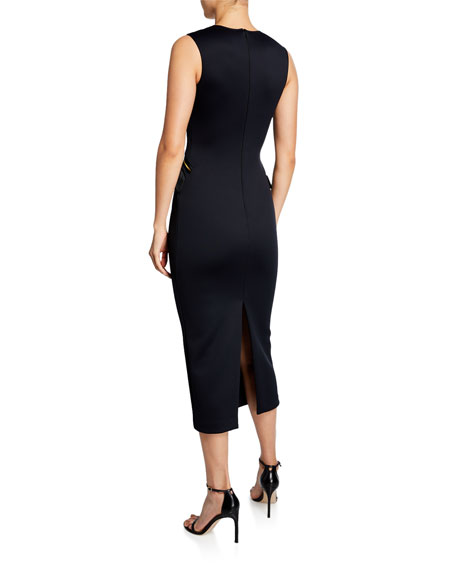 Brandon Maxwell Sleeveless V-Neck Zip-Pocket Midi Dress