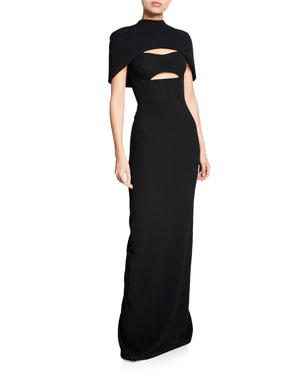 5d660cba1b013 Brandon Maxwell Cape-Sleeve Bustier Cutout Gown