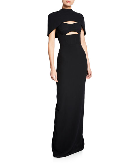 Brandon Maxwell Cape-Sleeve Bustier Cutout Gown
