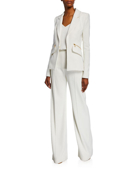 Brandon Maxwell Wide-Leg Pants with Zip Details