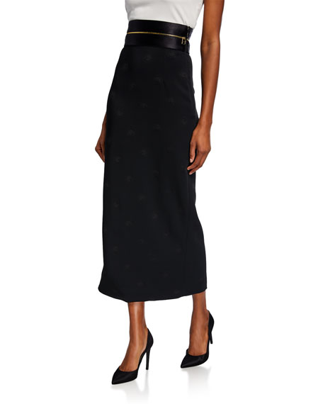 Brandon Maxwell Long Zip-Waist Pencil Skirt