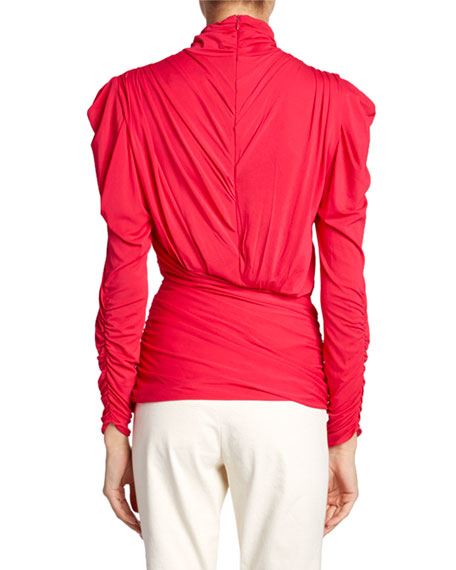 Isabel Marant Jalford Ruched Jersey Turtleneck Blouse