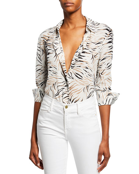 Altuzarra Chika Long-Sleeve Tiger-Print Shirt