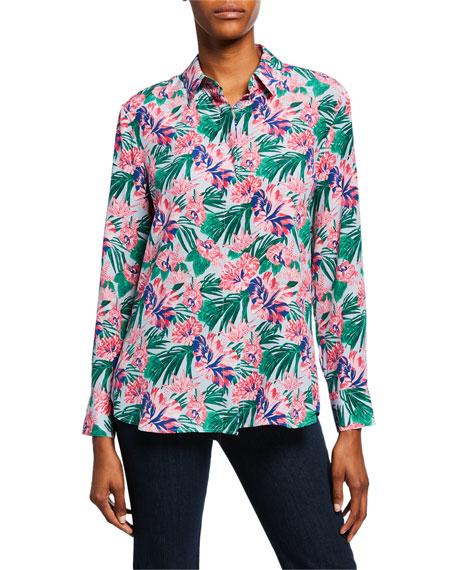 Altuzarra Floral Crepe de Chine Button-Down Shirt