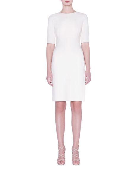 Akris 1/2-Sleeve Double-Face Crepe Sheath Dress
