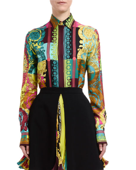 Versace Greca Silk Button-Front Blouse