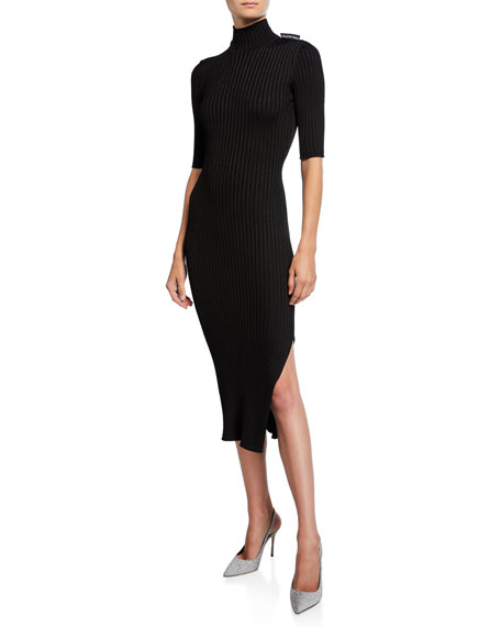 Balenciaga 1/2-Sleeve High-Neck Dress