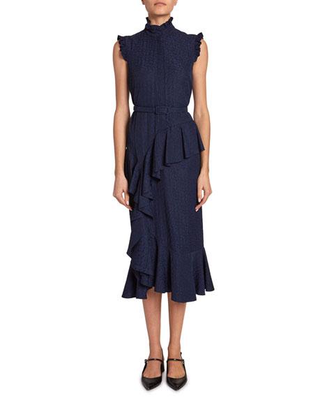 Erdem Irina Floral Jacquard Belted Ruffle Dress