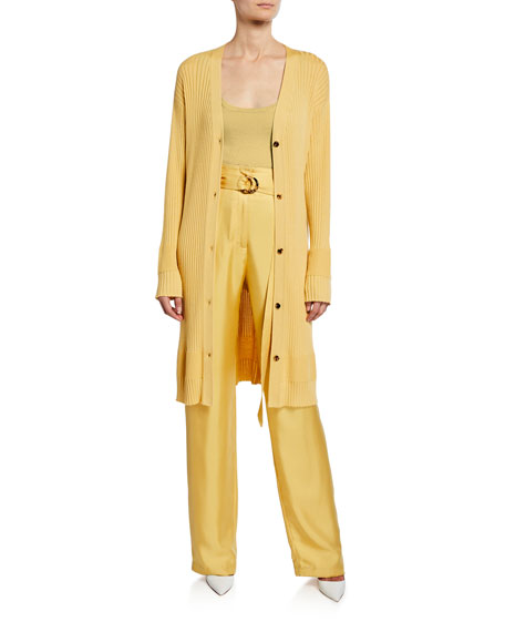 Sally LaPointe Belted High-Waist Silk Twill Pants, Yellow