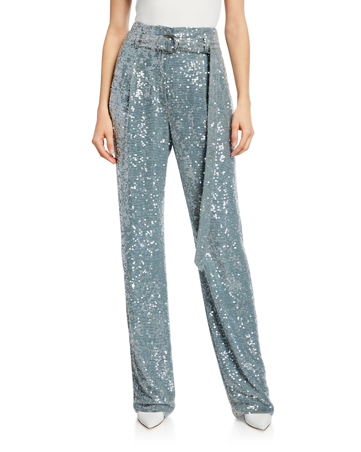 Sequined High Waist Belted Pants by Sally La Pointe
