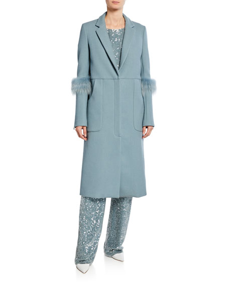 Sally LaPointe Bonded Wool Seamed Tailor Coat