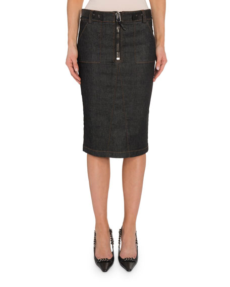 TOM FORD Zip-Front Denim Pencil Skirt