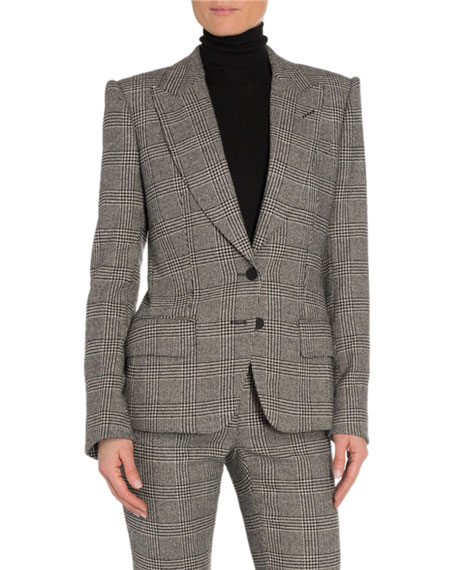 TOM FORD Prince of Wales Plaid Leather-Trim Blazer