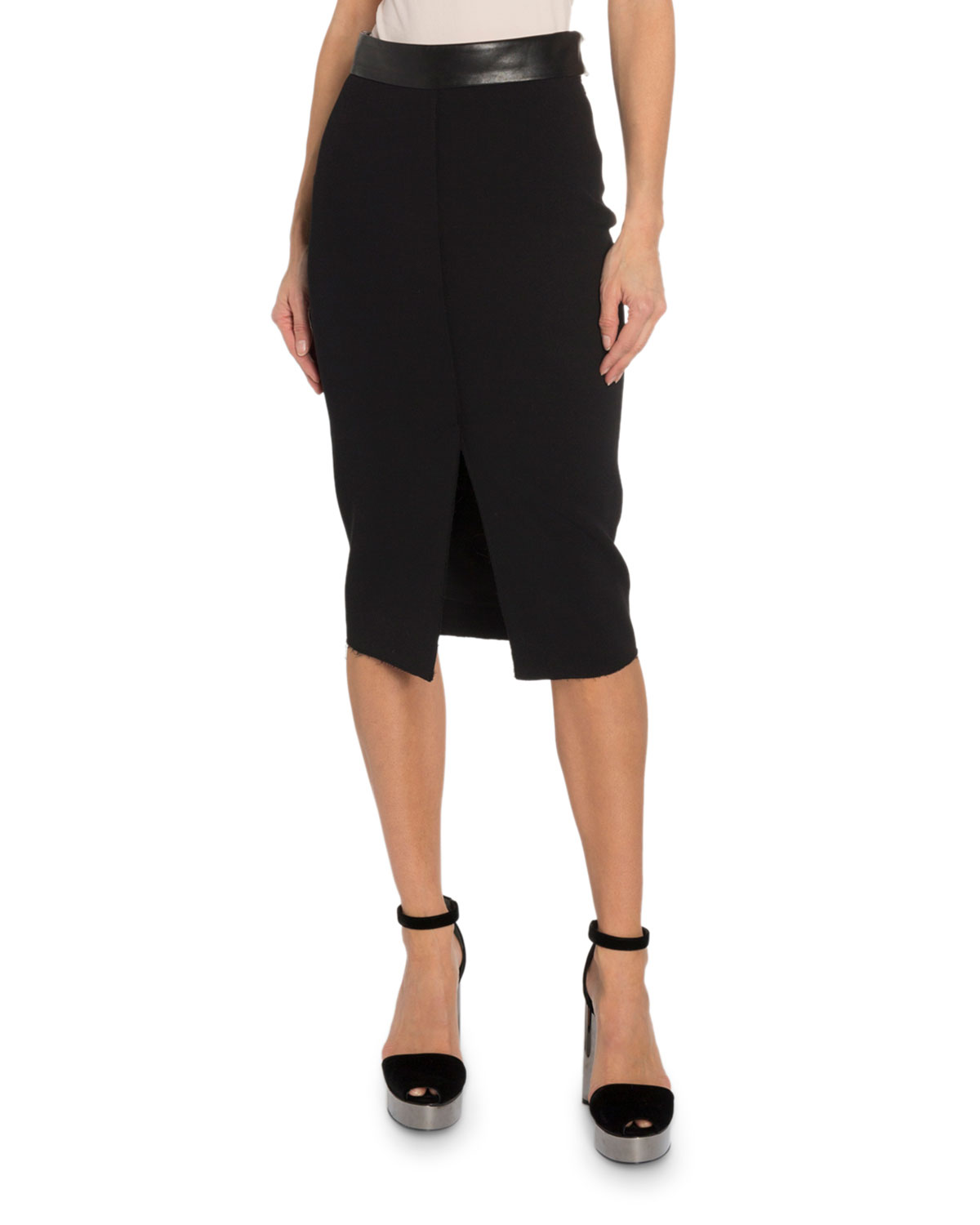 TOM FORD Leather-Trim Pencil Skirt