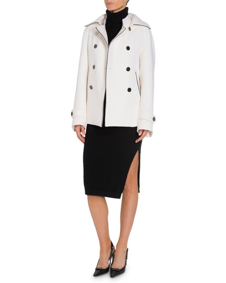 TOM FORD Double-Breasted Leather-Trim Wool Jacket