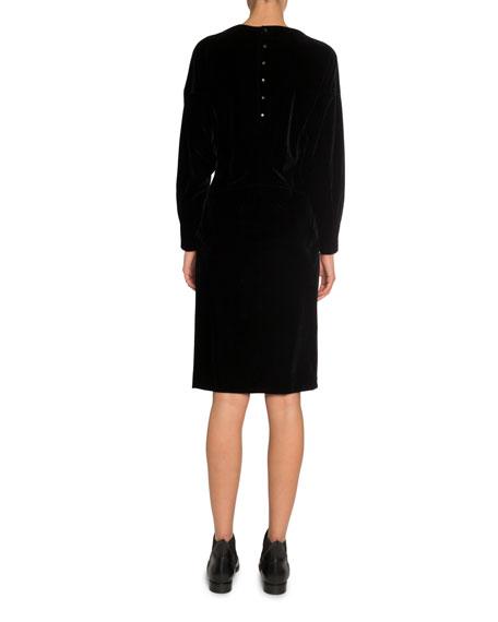 ALAIA Velvet Batwing Boat-Neck Midi Dress