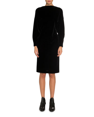 Velvet Batwing Boat-Neck Midi Dress