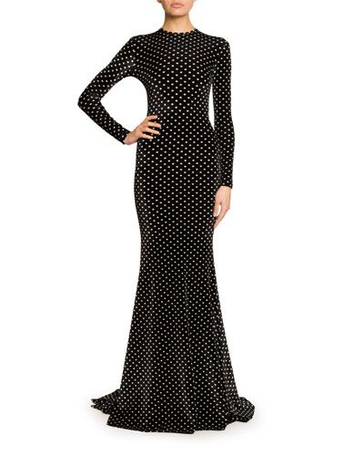 Long-Sleeve Polka-Dot Velvet Mermaid Gown