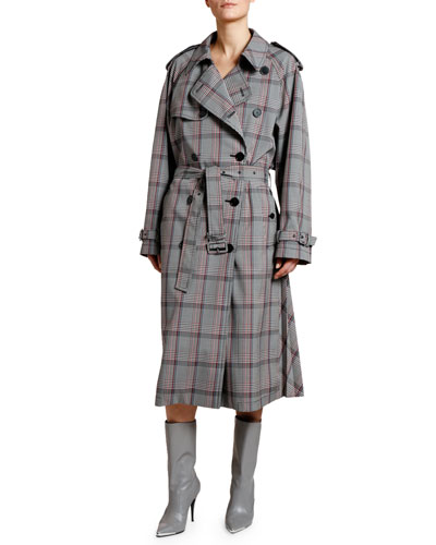 Check Pleated-Back Trench Coat