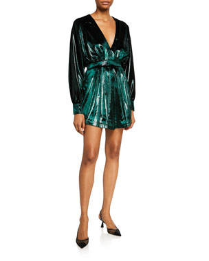 539ab0f9 Balmain Kimono-Sleeve Gathered Velvet Mini Dress