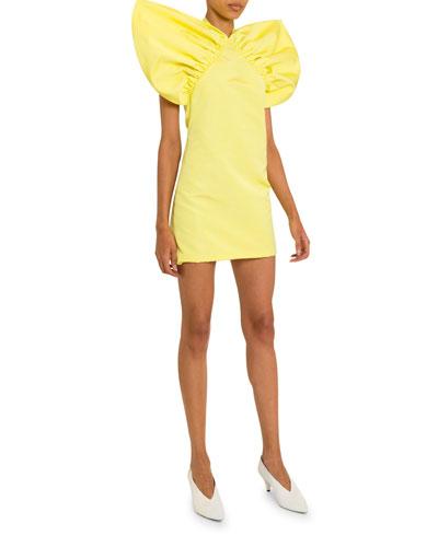 Wing-Shoulder Halter-Neck Mini Dress