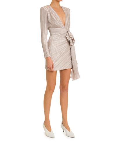 Deep-V Pleated-Satin Wrap Dress