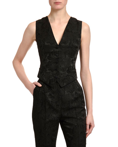 Dolce & Gabbana Stretch-Jacquard V-Neck Button-Front Vest
