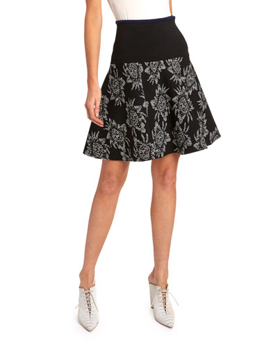 Monroe Floral Knit Flippy Skirt