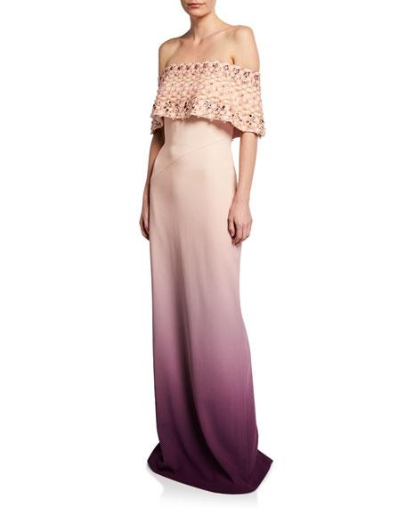 Pamella Roland Off-the-Shoulder Pearl-Embellished Ombre Gown