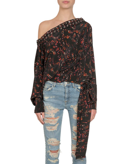Redemption Lace-Up One-Shoulder Long-Sleeve Tie-Waist Silk Top