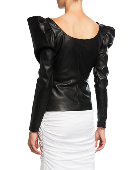 Redemption Leather Scoop-Neck Balloon-Sleeve Top