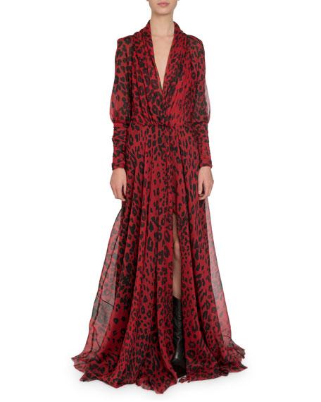 Redemption Leopard-Print Draped Chiffon Gown