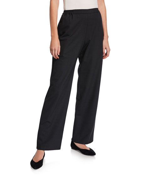 Eskandar Flat Front Straight-Leg Trousers