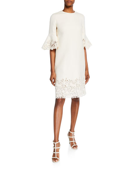 Valentino 1/2-Sleeve Macrame-Trim Cocktail Dress