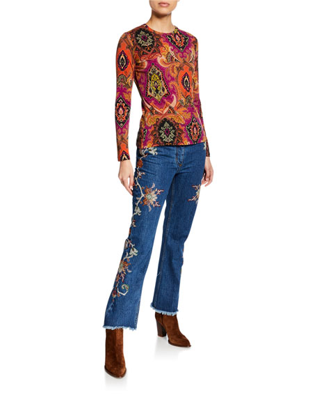 Etro Floral Embroidered Raw-Hem Jeans