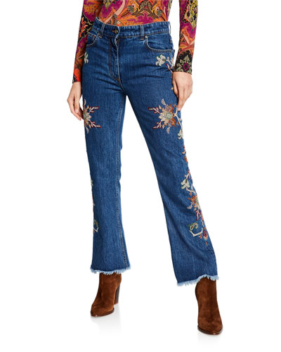 Floral Embroidered Raw-Hem Jeans
