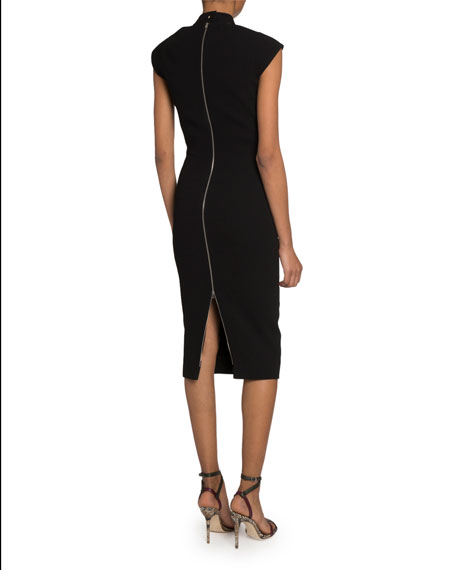 Victoria Beckham Cutout-Neck Crepe Cap-Sleeve Dress