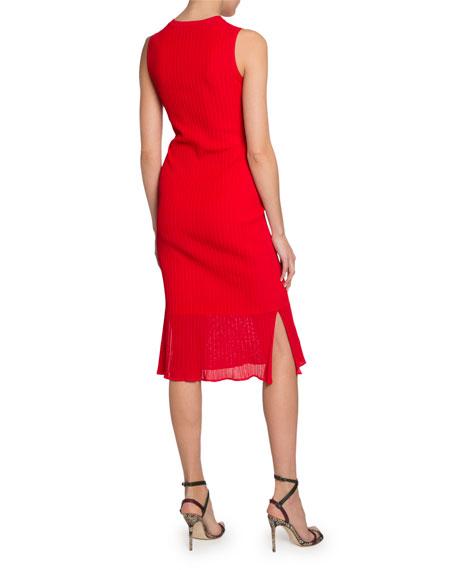 Victoria Beckham Sheer Hem Sleeveless Bodycon Dress