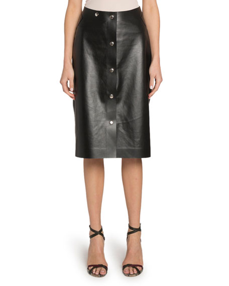 Victoria Beckham Button-Front Midi Leather Skirt