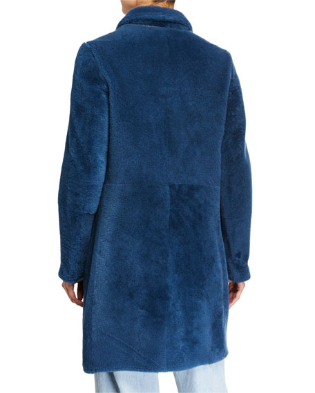 Brunello Cucinelli Double-Breasted Shearling Fur Overcoat