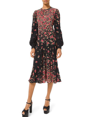 Michael Kors Collection Long-Sleeve Degrade Floral-Print Dress