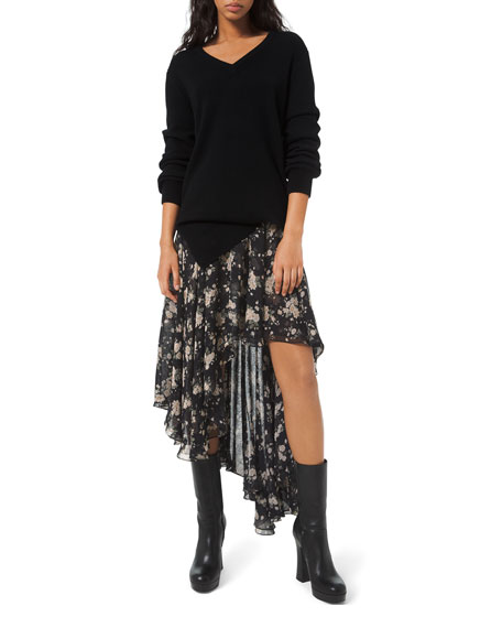 Michael Kors Collection French Floral Chiffon Asymmetric Skirt