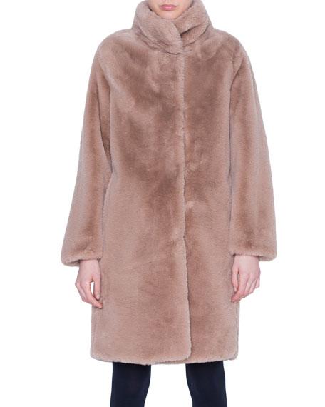 Akris punto Faux-Fur Knee-Length Jacket