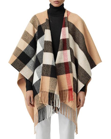 Burberry Wools MEGA CHECK FRINGE CAPE